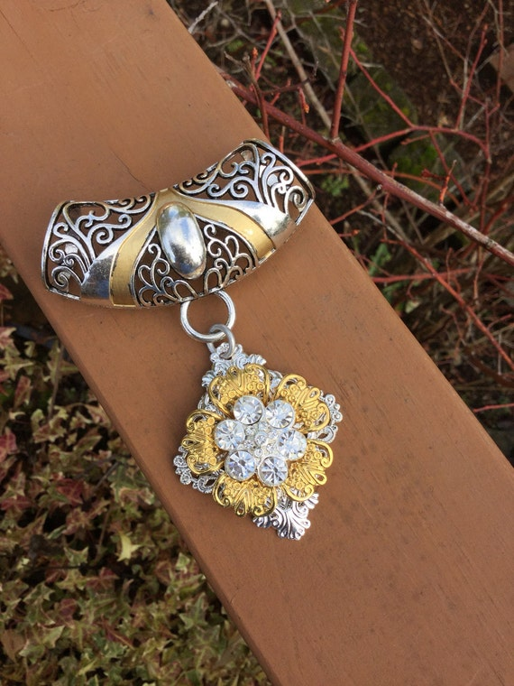 scarf slide with pendant scarf jewelry silver and gold scarf