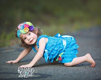 Turquoise Lace Romper~Baby Lace Romper~Baby Romper~Petti Lace Romper~Romper~Smash Cake Set~First Birthday Outfit~Lace Romper~Petti Romper~