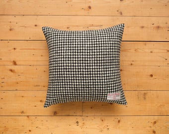 Harris Tweed Luxury Monochrome Houndstooth Cushion - Black and White Dogtooth Pillow