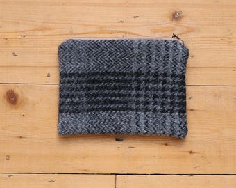 100% Wool Tweed Pouch - Grey and Black Windowpane check - Zipped Accessory bag