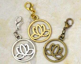 Lotus Flower Charm Meditation Yoga Gift, Planner Accessories Zipper Pull  Midori Charm Buddha Charm, Mindfulness in Gold, Silver