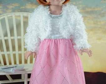 American Girl or 18 Inch Doll Cinderella Special Occasion DRESS Gown in Pink Sparkle with JACKET SHOES, Purse and Jewelry