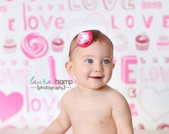 7ft x 7ft Valentines  Day Photography Backdrop for Girls - Valentine Studio Prop - Item 436