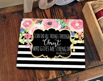 Mouse pad Mousepad Office Desk Accessories Christian Religious Christ I can do all things Black White Watercolor Flowers