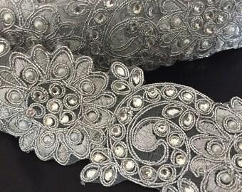 Rhinestone Silver Beaded Trim for DIY Wedding, Veil, Wedding dress, Wedding Supplies.