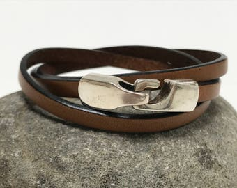Tan Triple Wrap Leather Bracelet with Hook Clasp Leather Bangle, Unisex Leather Bracelet,Women's Leather Bracelet, Tan and Silver
