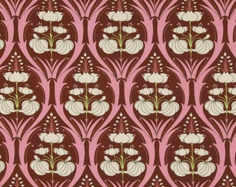 Art Deco Fabric by the Yard, Quilting, Damask, Cotton, Floral, Pink, Chocolate, Brown, Passion, Lily, Large Print, Art Nouveau, Decor, Craft