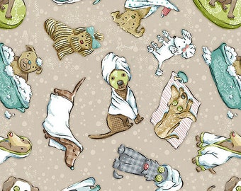 Dog Fabric by the Yard, Quilt, Cotton, Novelty, White, Animal, Puppy, Pet, Bed, Toy, Pooch, Blue, Green, Tan, Pampered Pooch, Craft