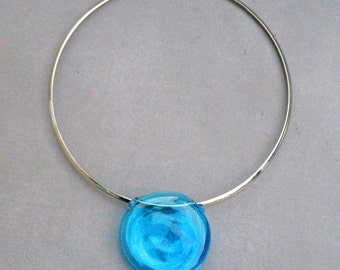 Stainless steel choker and lampwork flat acqua hollow bead-Chker with glass bead