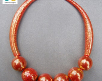 Bubble glass necklace-  24kt gold leaf hollow beads with 2 hollow tubes-Red