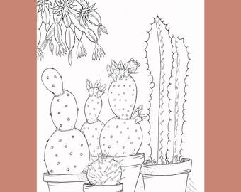 printable cactus coloring page adult coloring page cacti coloring page print and color