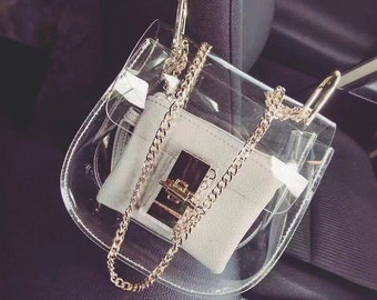 INVISIBILITY COLLECTION--Minimalism Transparent See through bag, clutch, shoulder bag, clear cross body bag with a decorative metal closure