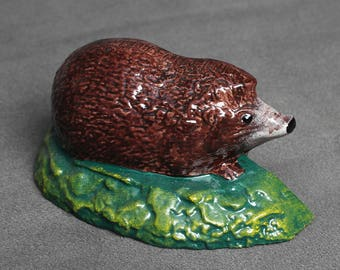 Cast Iron Hedgehog Door Stop Wedge Ornament Heavy Handpainted Traditional Wild Hedgehog Painted Handcrafted Antique Old Style - BRITISH MADE
