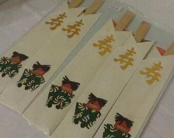 Set of 5 New Year's decorative waribashi