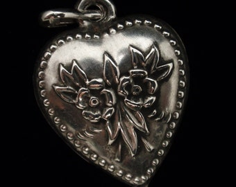 Puffy Heart Charm Sterling Silver Floral Design Vintage