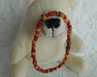 Wooden Bead Bracelet PINK ~handmade~