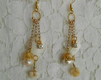 REAL Shells & Freshwater Pearls Earrings ~HANDMADE~