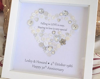Personalised Heart Wedding Anniversary / New Engagement Button Print - LOVE is special Picture Gift Framed