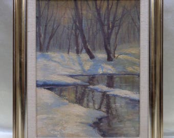 Framed Estate Found Vintage Winter Stream Sunrise Oil Painting on Canvas Panel