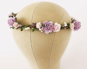 Lavender flower crown. Lavender and pink floral crown. Boho wedding crown. Floral crown. Flower headpieces. Bridesmaids headpieces.