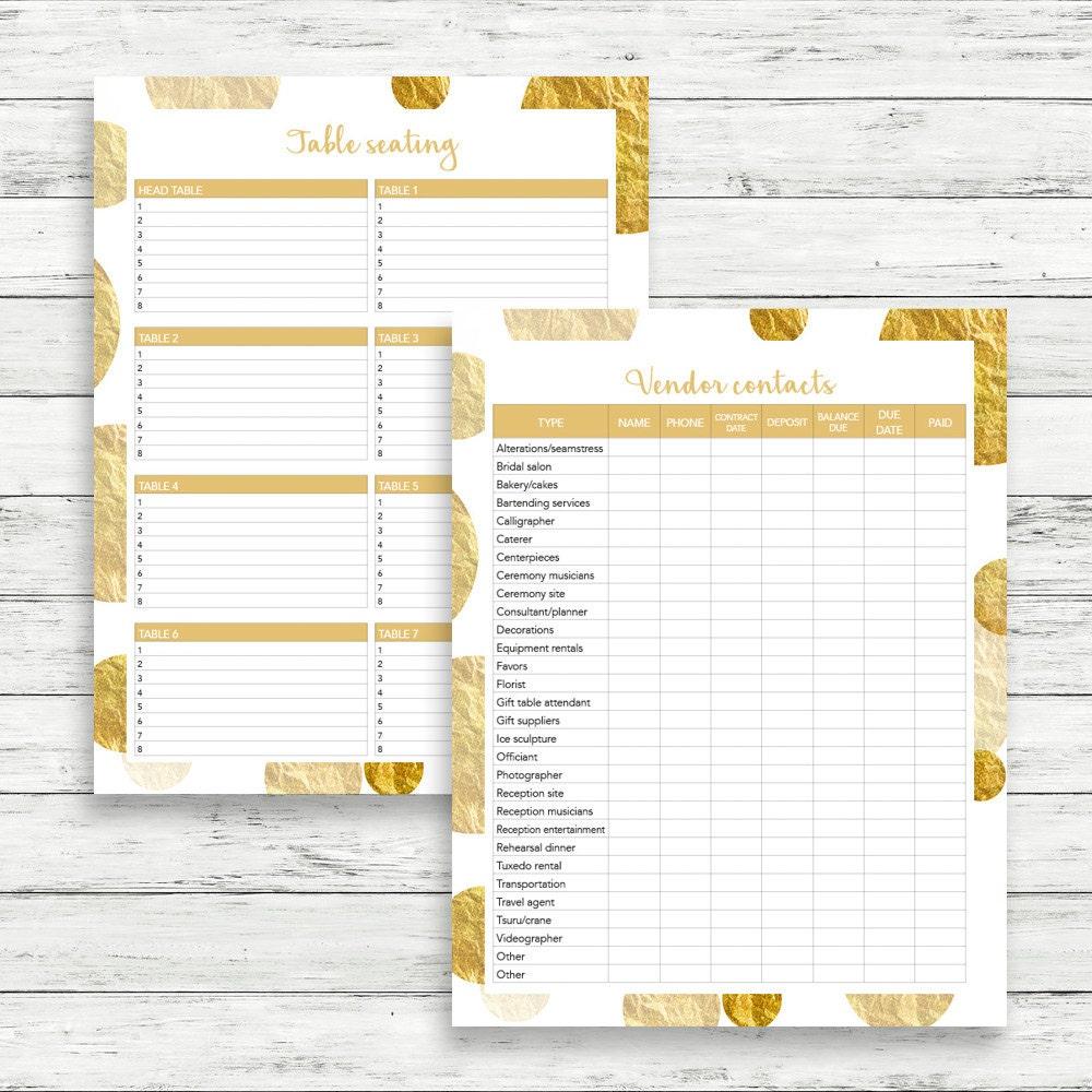 Gold wedding planner, DIY wedding binder, Gold wedding binder ...