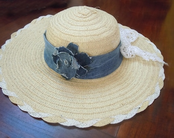 Natural straw hat, woman hat, beach hat