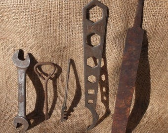 Rusty Tools, Wrenches-craft project, mixed media, folk art, altered art