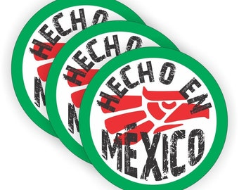 "HECHO EN MEXICO (3 pack) - 2"" Full Color Printed Vinyl Stickers - Hard Hat - Helmet - Phone - Laptop - Etc."