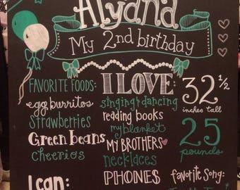 Handmade Chalkboard Birthday Board