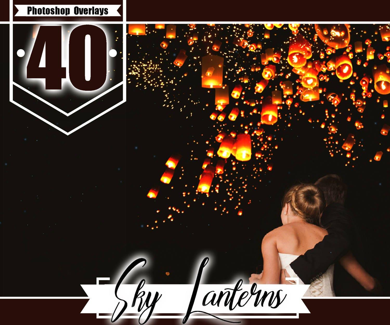 35 Sky Lanterns Overlays Photoshop Overlays Light Night