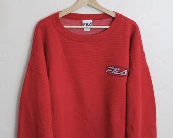 90s Vintage Fila Crewneck Sweatshirt 90s Fila Vintage Streetwear Red Sweatshirt 90s Fila Size XL