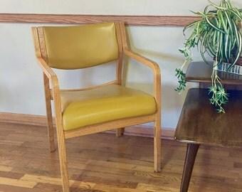 Vintage Retro Mustard Yellow Vinyl Accent Chair, Retro Gold Desk Chair