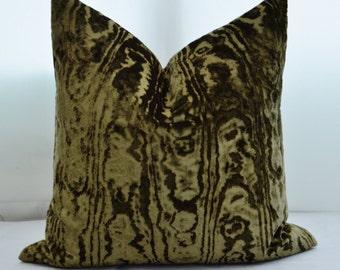 Green Velvet Pillow Cover,Patterned Velvet Pillow Cover,Khaki Green velvet Pillow Cover