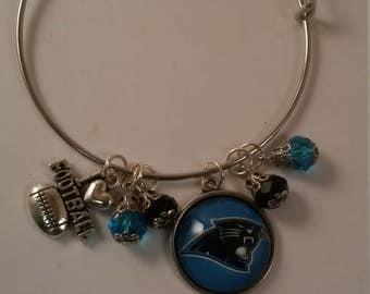 Football Panthers Handmade Bangel Bracelet 18mm Charm w/ Football Charm Charm Beads