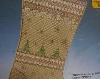 "On Sale Vintage Bucilla Christmas ""Snowflakes & Trees"" Needlepoint Stocking Kit, #60684, 17"" Diag., Dusty Pink, Sage Green, Tan, Christmas"