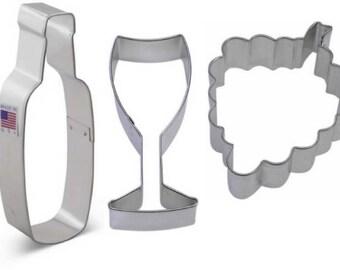 3 Piece Wine Bottle Glass & Grapes Cookie Cutter Set