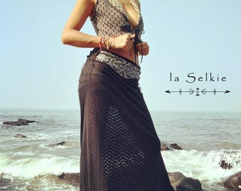 "Long skirt ""Apsâra"" - Boho chic sensual lace skirt"