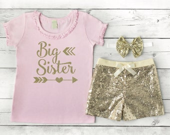 Big Sister Outfit Pink and Gold Baby Shower Gift for Big Sister Pregnancy Announcement Big Sister Shirt Shorts Headband Set 127