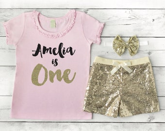 First Birthday Outfit Girl Pink and Gold, Personalized First Birthday Outfit Girl, Baby Girl Clothes 091