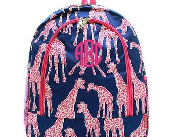 Personalized Giraffe Backpack Monogrammed Bookbag Pink Navy Blue Girl Large Canvas Kids Tote School Bag Embroidered Monogram Name