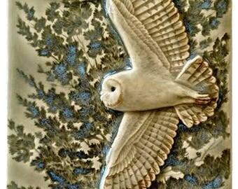 Tile, Flying Barn Owl, ceramic art tile in celadon glaze