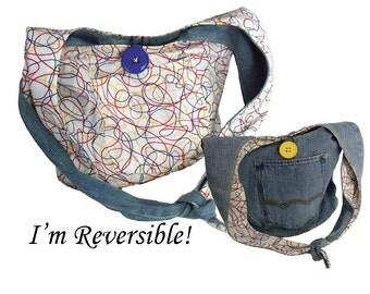 Denim Hobo Bag / Shoulder Bag / Jeans Bag / Reversible Purse / Repurposed Denim Bag - Reversible Primary Color Swirls