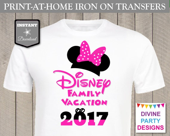 Instant download print at home pink mouse disney family for Instant t shirt printing