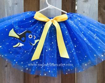 Finding dory tutu, dory tutu, royal sparkle tutu with dory.  dory patch,finding dory patch.  dory dress, dory outfit royal blue tutu