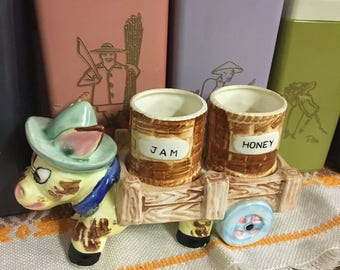 vintage ceramic donkey cart jam and honey jars