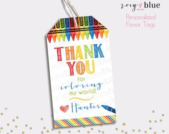 Art Party Printable Favor Tags - Crayon Birthday Thank You Tags - Colorful Painting Party Favors - School Gift Tags - Teacher Gift Tags