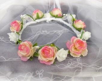Flower Crown bridal Crown wreath of communion, Bridal wedding Crown flower, wreath communion