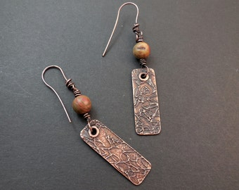 Picasso jasper and etched copper dangle earrings