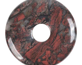g3566 40mm brecciated jasper donut focal pendant bead