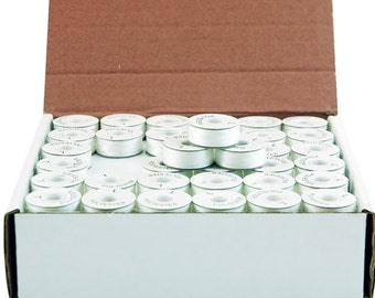 White, L-Style, Paper-Sided Prewound Embroidery Bobbins- 144 count
